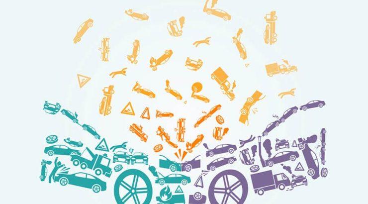 car accident illustration purple green yellow