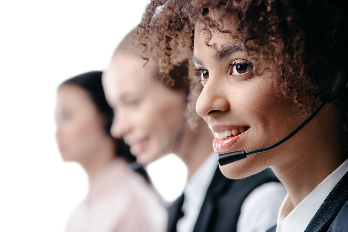 Call Center Woman Wearing Headset Customer Care